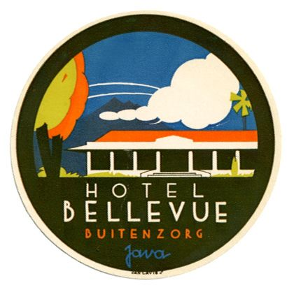 Hotel Bellevue label by Jan Lavies ca 1950s. From: Art of the Luggage Label on Flickr