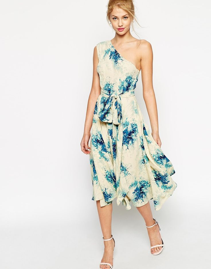 Pin For Later: 30 Gorgeous Wedding Guest Dresses For Under ASOS Premium One  Shoulder Midi Dress In Porcelain Flower Print