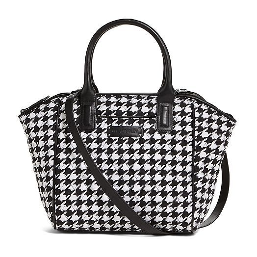 Oh, Vera Bradley, you had me at houndstooth!!!  Trimmed Satchel in Midnight Houndstooth with Black Trim