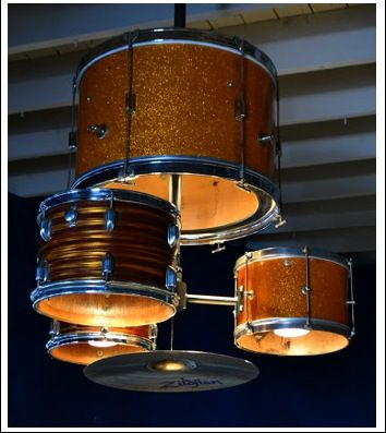 Ludwig Metals made this custom light fixture for JJ's Red Hots restaurant in Charlotte, North Carolina (which had previously been called The Drum).  What a creative and fun way to add unique character to a space.