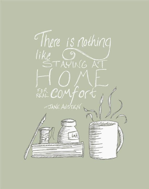 Jane Austen Quote Print - Coffee Mug and Book Modern Illustration || FlourishCafe on Etsy