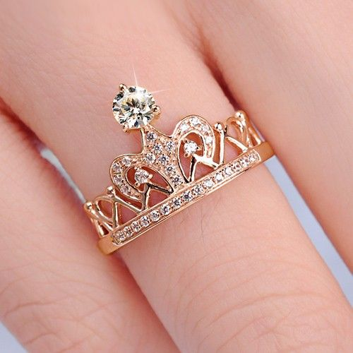 Crown Design 925 Sterling Silver Rose Gold Plated with ...
