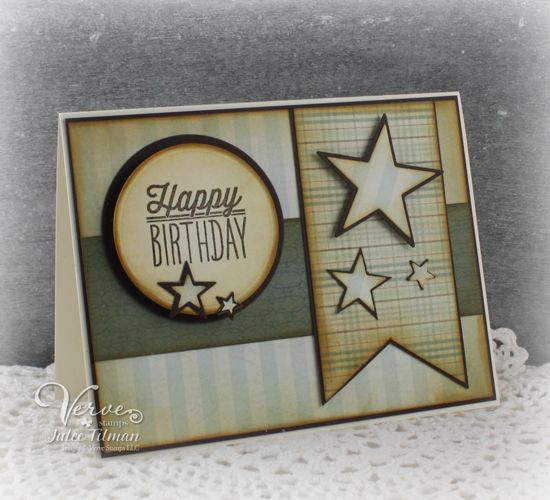 Masculine birthday card by Julee Tilman using the Small Packages set from Verve.  #vervestamps