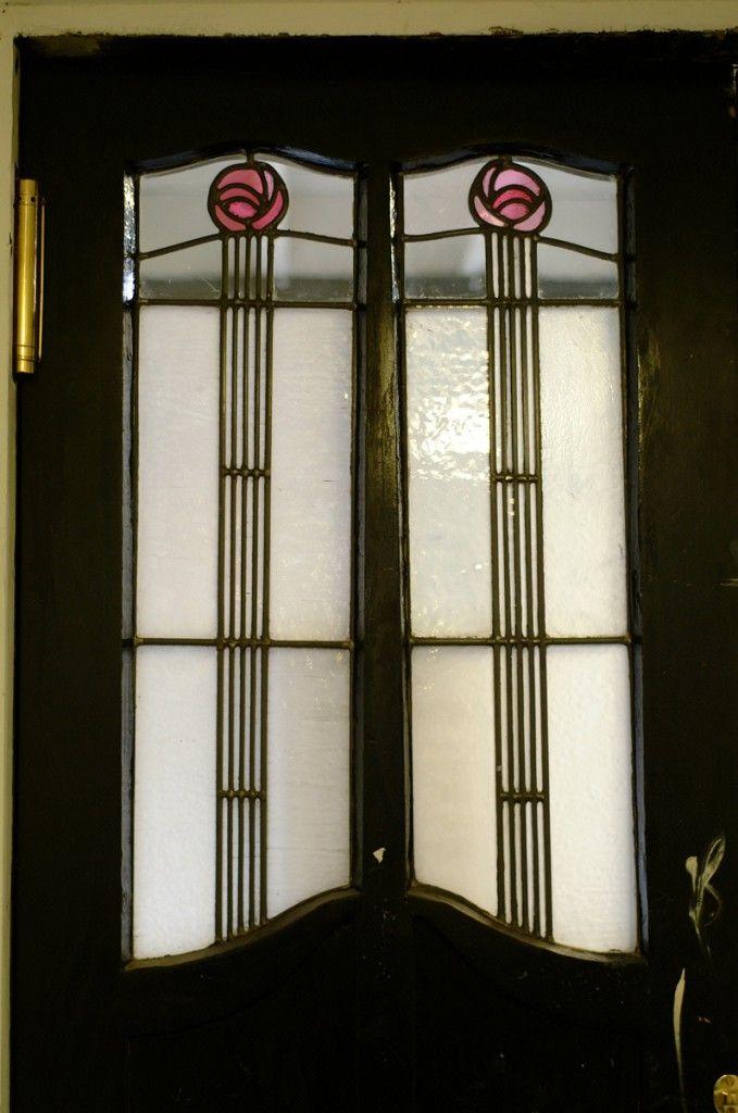 The Glasgow School of Art - studio door leaded glass