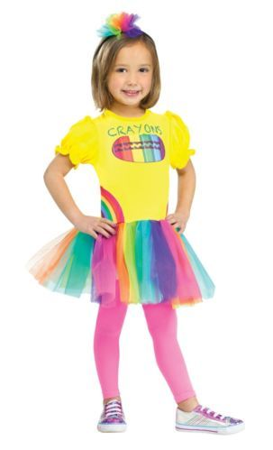 Girls Rainbow Crayon Box Costume Fancy Dress Tutu Hat Toddler Child 3T 4T 4 6