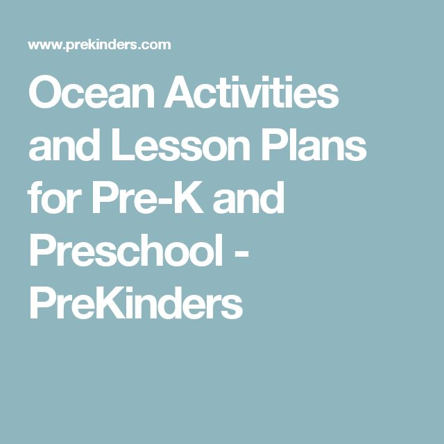 Ocean Activities and Lesson Plans for Pre-K and Preschool - PreKinders