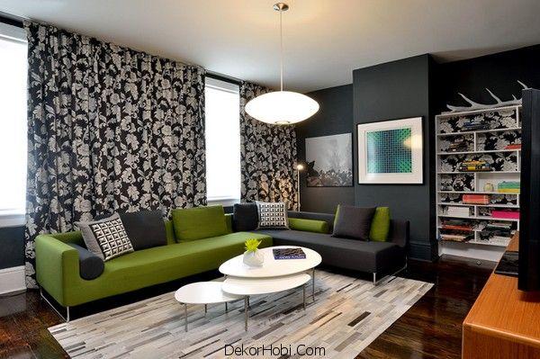 Yeşil ve Siyah Oturma Odası