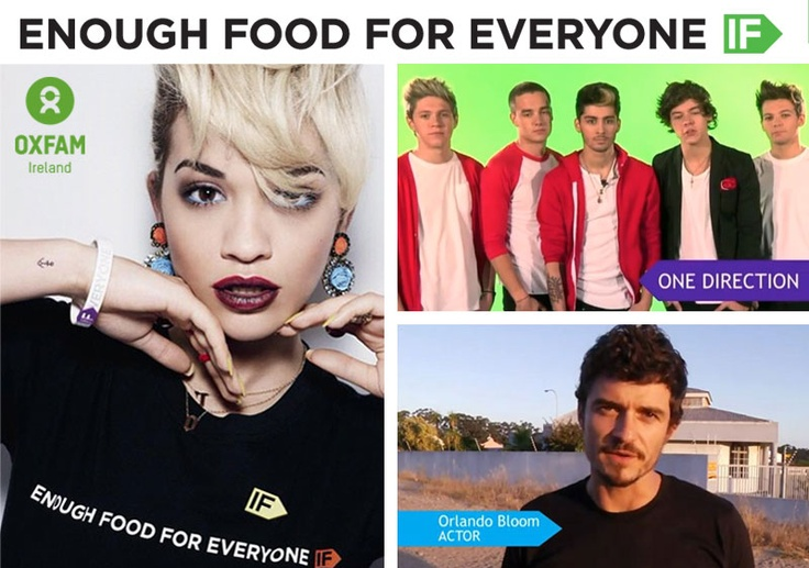 What do One Direction!, Orlando Bloom, Bill Gates and Rita Ora have in common? They're all supporting the Enough Food IF campaign to end hunger. Please SHARE this post and add your voice here: http://www.oxfamireland.org/if #IF #OneDirection #OrlandoBloom #RitaOra