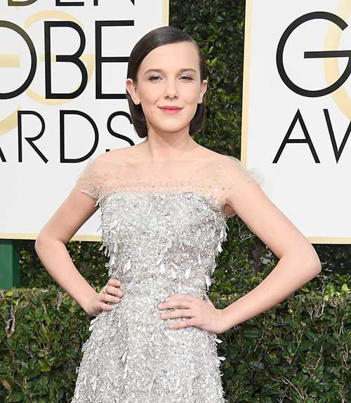 Celebs with Short Hair at the Golden Globes 2017: #8. Millie Bobby Brown
