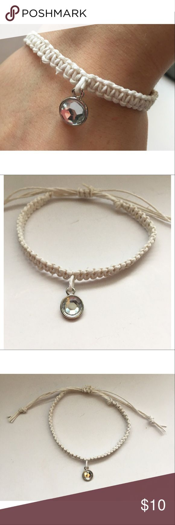Handmade White Hemp Rhinestone Charm Bracelet ☾ Handmade  ♡ ☾ Size  Adjustable 7