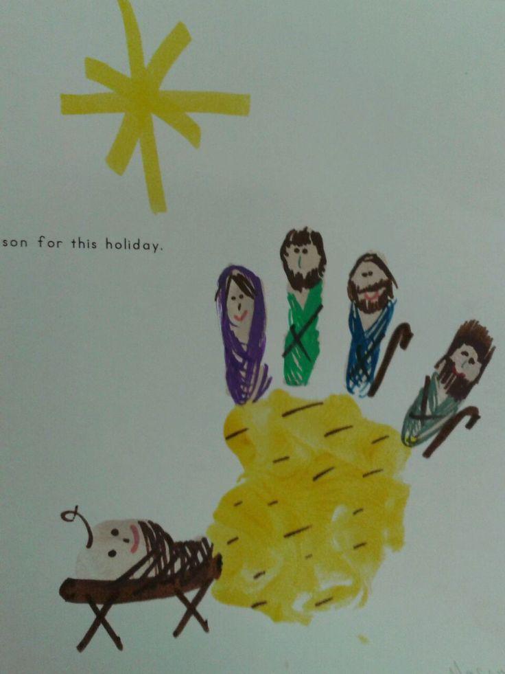 MaeMae Carver and Jamie Merritt created a manger scene, Mary, Joseph, shepherds and baby Jesus using a childs' hand print.