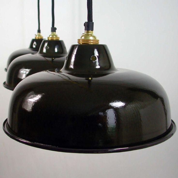 ART DECO Bauhaus Lampe LOFT Fabriklampe INDUSTRIELAMPE EMAILLELAMPE EMAILLE
