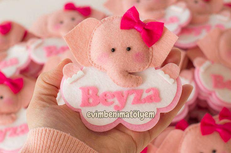 beyza bebek için pudara pembe isimli keçe fil magnet bebek mevlüdü hediyelikleri