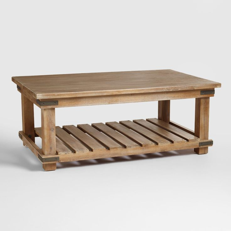 Our Cameron Coffee Table is crafted in Vietnam of acacia hardwood, MDF and veneer with a weathered beach finish. It's a large, stylish coffee table designed to suit any décor. In addition to its beautiful tabletop, a planked shelf underneath allows for lots of extra storage. The metal detailing at its corners lends added visual interest to its natural appeal.