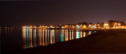 Wollaston Beach at night from the end of Squantum.