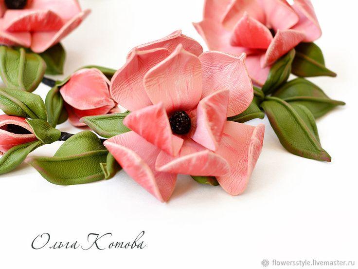 Купить Цветочное колье из кожи В краю магнолий розовое колье в интернет магазине на Ярмарке Мастеров