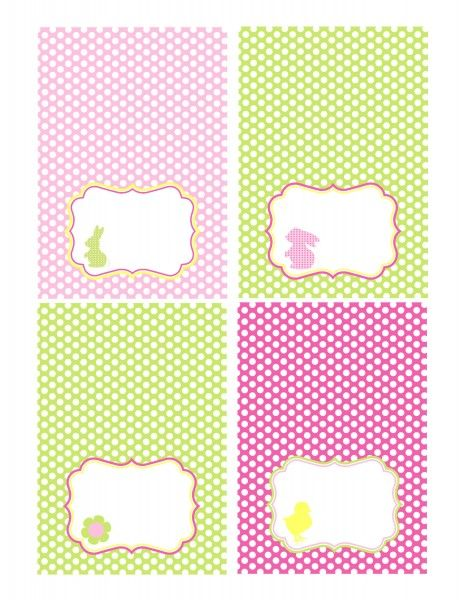 """free """"polka dots"""" easter printables in yellow, bright green, lavender and bubblegum pink {party circles, tented cards and """"happy easter"""" banner}"""