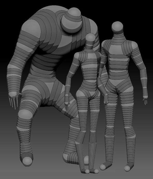 This is to help me have an idea how to start the zspheres on my model because the center female figure pretty closely fits her.