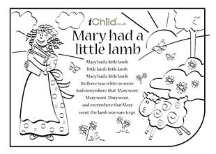Mary Had A Little Lamb Lyrics Activity Kids Can Have Fun Colouring In The Picture Singing Along To Nursery Rhyme At IChild
