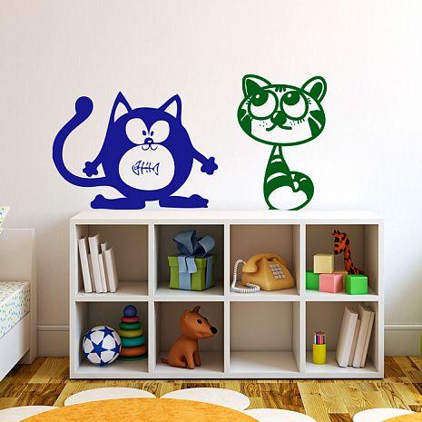 Трафарет для детской: Дуэт котиков