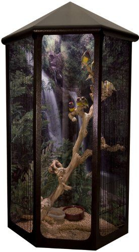 "$549.00 56"" ""Kozy Corner"" Wall mounted Bird or Small Pet Cage - This ""Kozy Corner"" Bird cage is 56""h x 20""d x 29""w. It features a 10w x 40""h clear front panel, and 6 slide open doors. It is featured with Copper Vein Non toxic powder coating. All of our cages are made 100% here in the US under strict California regulations unlike cages made in China. With this cage you and your bird are guaranteed ..."