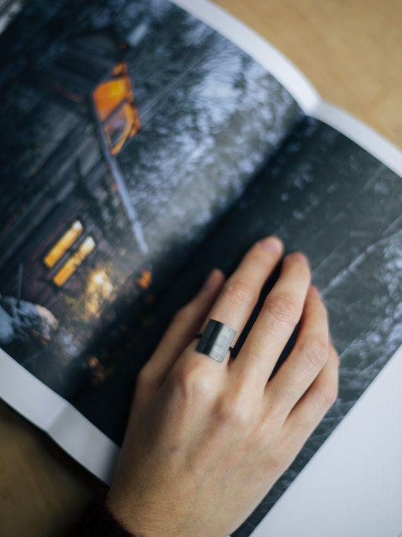 Unique silver ring oxidized minimal ring geometric ring