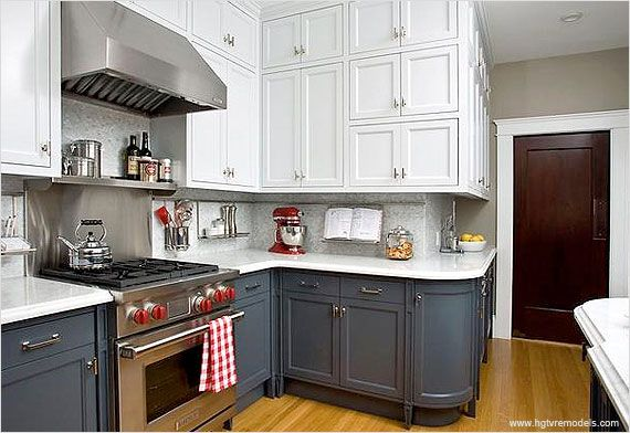 Paint your upper and lower kitchen cabinets different colors to incorporate the two tone kitchen cabinet trend.