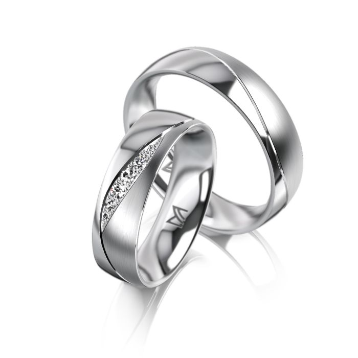 MEISTER Wedding-Ring PHANTASTICS Twinset 85 - wedding-rings whitegold   MEISTER