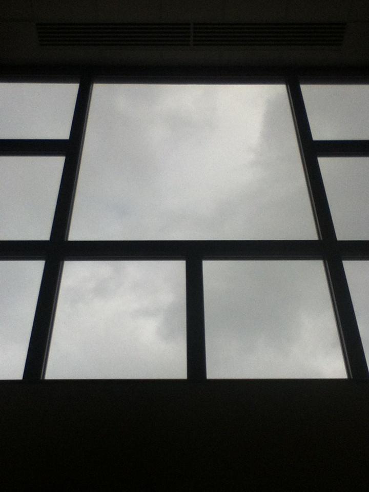Big window by gym lobby