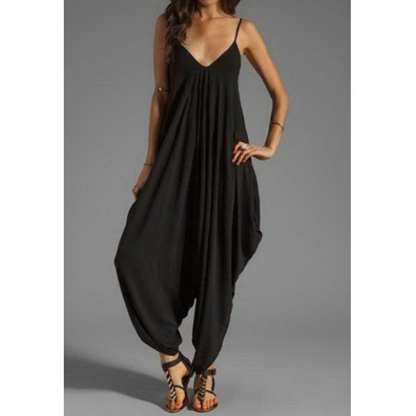 Sexy Spaghetti Strap Loose-Fitting Jumpsuit For Women