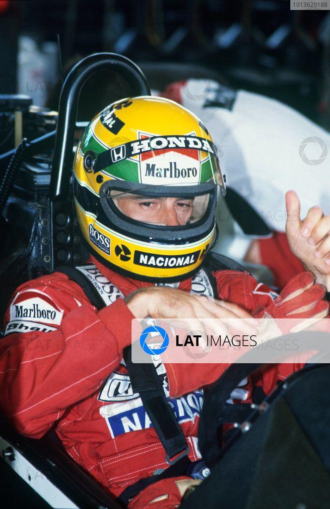 Jacarepagua, Rio de Janeiro, Brazil. 1-3 April 1988. Ayrton Senna (McLaren MP4 / 4 Honda), DQ, helmet, portrait. World Copyright: LAT Photographic. Ref: …