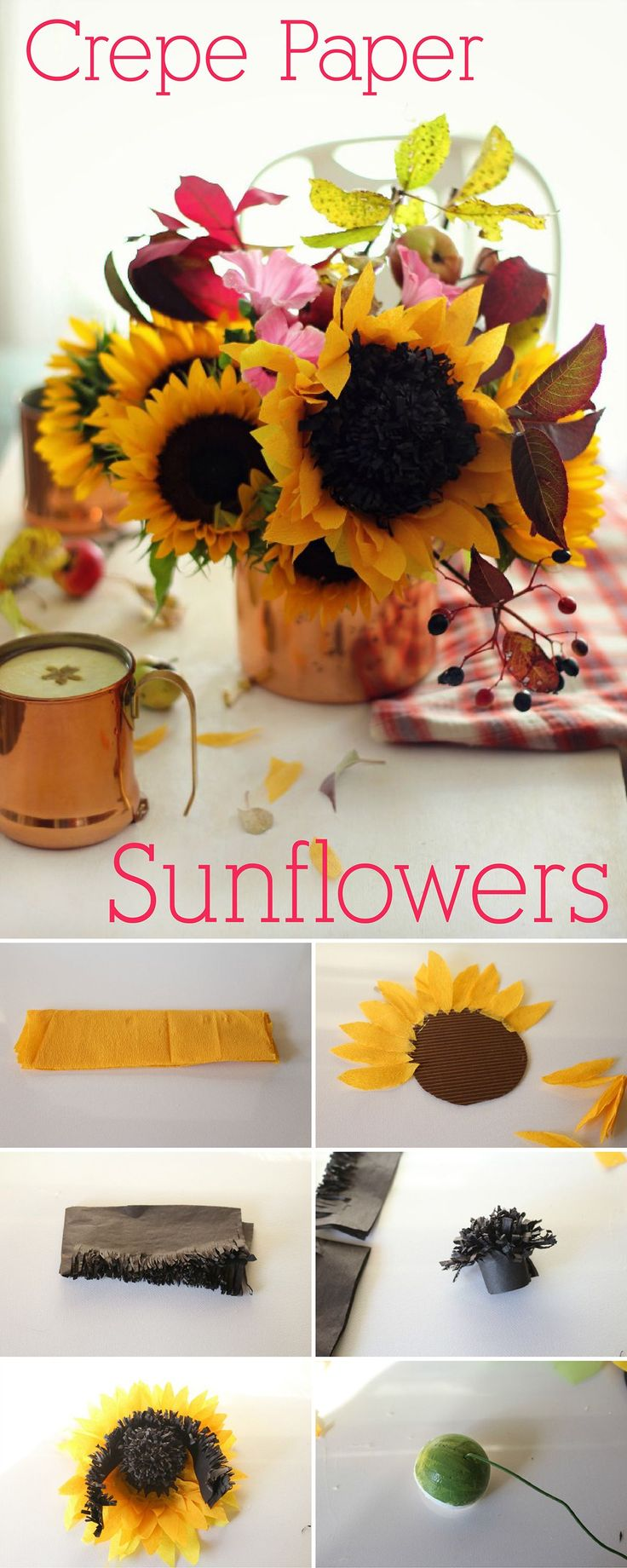 Crepe paper is the BEST! How gorgeous are these crepe paper sunflowers?  Exactly what