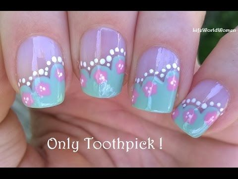 25 trending toothpick nail art ideas on pinterest diy nails side french manicure tutorial with floral design todays nail art is an easy toothpick nail art in french manicure design firstly apply base coat to prinsesfo Gallery