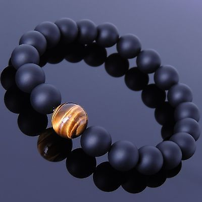 Mens Women Matte Black Onyx Tiger Eye Bracelet Handmade Gemstone DIY-KAREN 112