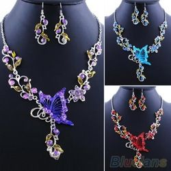 Online Shop Da noiva borboleta flor Rhinestone pingente declaração Bib colar conjunto de jóias brincos 08OO|Aliexpress Mobile