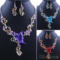 Online Shop Da noiva borboleta flor Rhinestone pingente declaração Bib colar conjunto de jóias brincos 08OO Aliexpress Mobile
