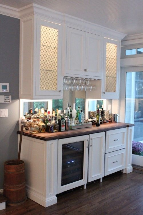 like the idea of this type of section to a kitchen, although I'd prefer the liquor inside the cabinets