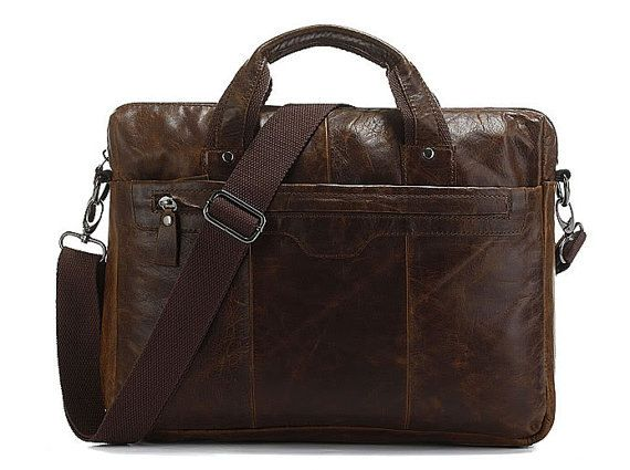 Handcrafted Genuine Leather Briefcase / by MooshiLeatherDesign