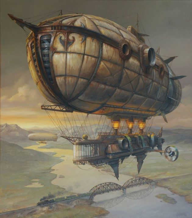 Take a look at this fantastical #steampunk #airship! Illustration by Jaroslaw Jasnikowski, http://greatinspire.com/extraordinary-paintings-of-travel-vehicles-by-jaroslaw-jasnikowski/