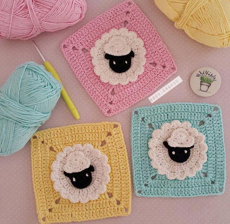 Granny mouton tout doux : je vous propose des granny tout doux parfait pour une couverture ou un coussin pour les enfants