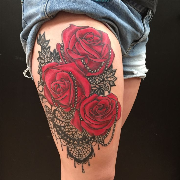 Red Rose, Pearl and Lace Thigh Tattoo by Colby Morton @ Working Class Tattoo in Kansas City, MO