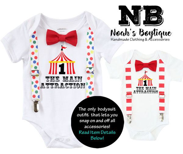 Circus First Birthday Outfit Boy, Circus Tent with Number One, Red and White Stripe Suspenders Bow Tie, Colorful Dots, Carnival Party Shirt by NoahsBoytiques on Etsy https://www.etsy.com/au/listing/560756161/circus-first-birthday-outfit-boy-circus