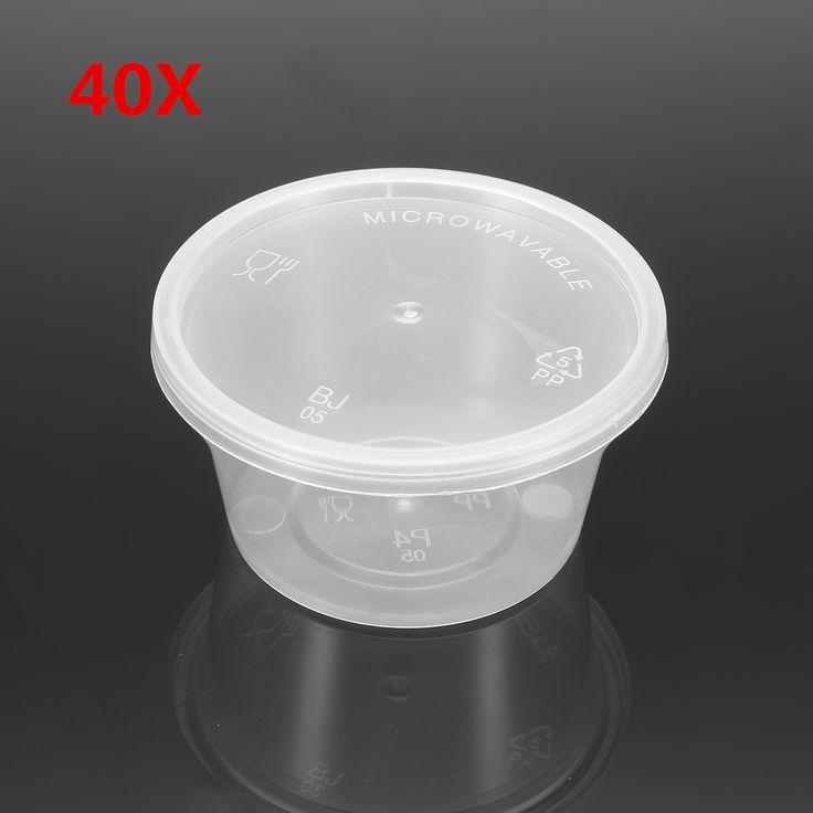 40Pcs 100mL Desechable Plástico Condimento De Salsa De Soya Copas Contenedor Con Tapa De Cubierta