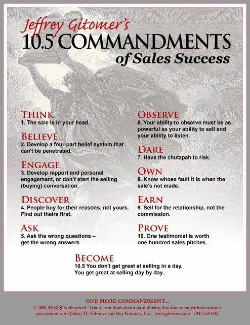 Really a great insights for sales leaders. The commandments are really good ones.