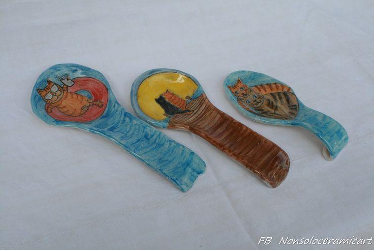 poggiamestoli decorazioni gatti | handmade ceramic | cat decoration spoon rest