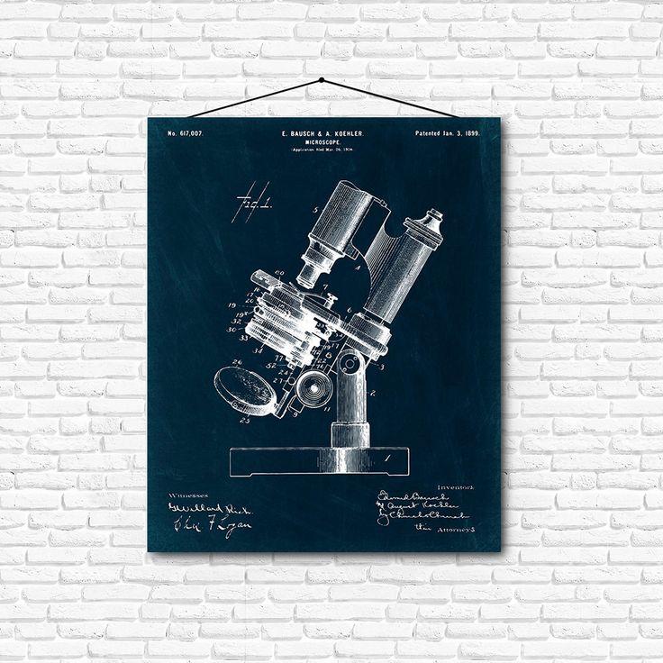Microscope Patent Print- 1899 - Poster Wall art Illustration Print Art Home…