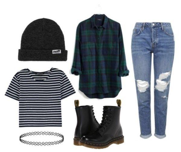 Camisa listrada + jaqueta xadrez + calça jeans destroyed dobrada + bota