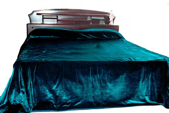 Luxury teal velvet bedcover  Couture bed linen in by AmoreBeaute