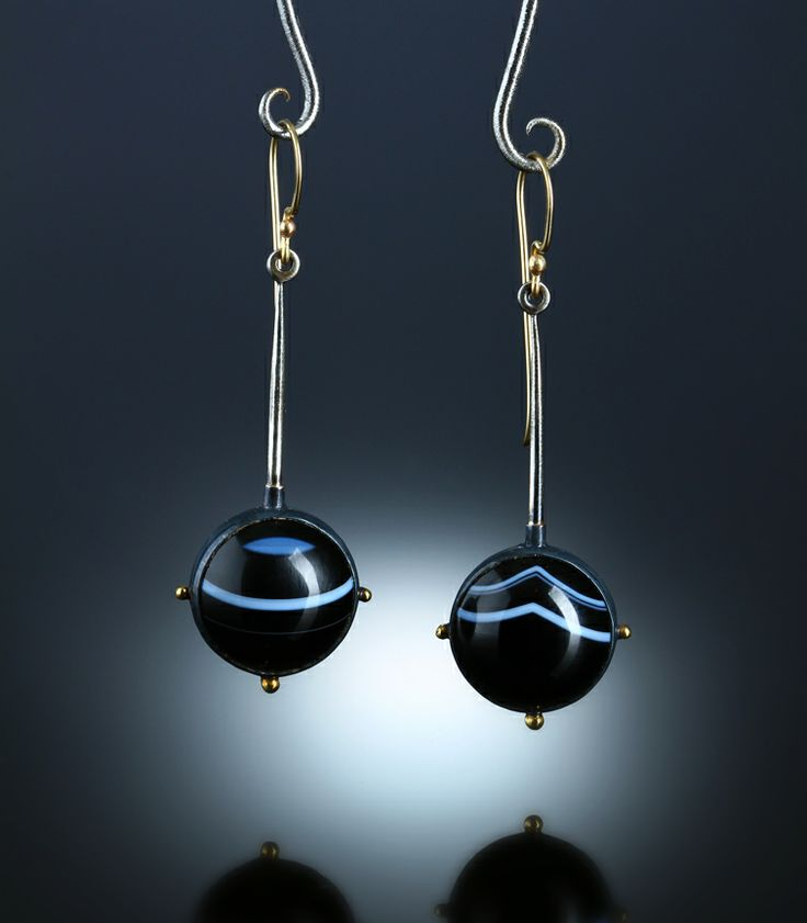 Banded Onyx Earrings. One Of A Kind Sterling Silver, 14k & 18k. www.amybuettner.com