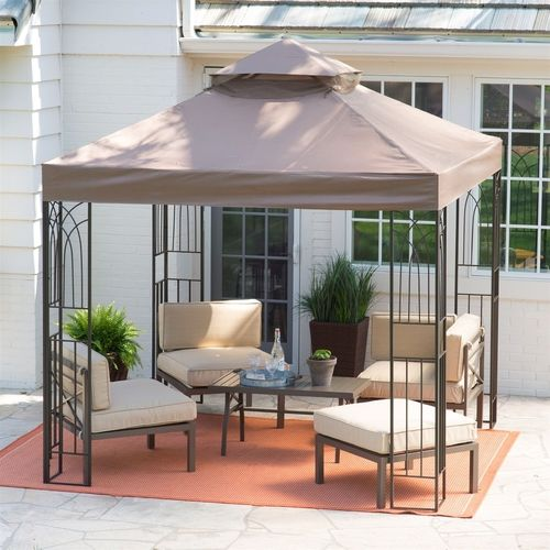 8 X Ft Steel Frame Gazebo Outdoor Weather Resistant Top Vent Canopy